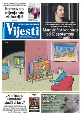 """Naslovna strana """"Vijesti"""" za 8. mart 2020. godine"""
