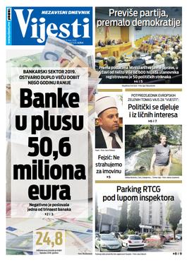 """Naslovna strana """"Vijesti"""" za deveti mart 2020. godine"""