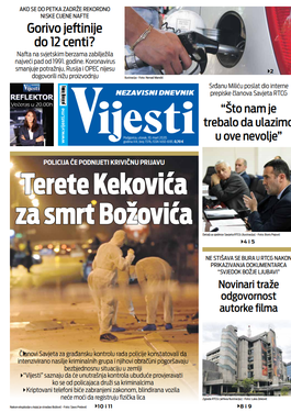 """Naslovna strana """"Vijesti"""" za 10. mart"""