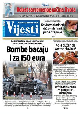 """Naslovna strana """"Vijesti"""" za 11. 3. 2020."""