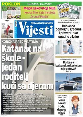 """Naslovna strana """"Vijesti"""" za petak 13. mart 2020. godine"""
