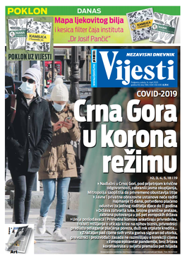 """Naslovna strana """"Vijesti"""" za 14. mart 2020. godine"""