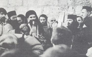 Amfilohije i Arkan pred Cetinjskim manastirom