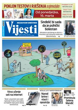 """Naslovna strana """"Vijesti"""" za 15. mart 2020."""