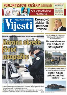 """Naslovna strana """"Vijesti"""" za 16. mart 2020."""