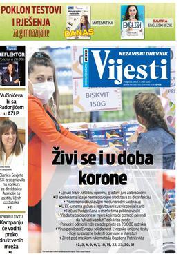 """Naslovna strana """"Vijesti"""" za 17. mart 2020. godine"""