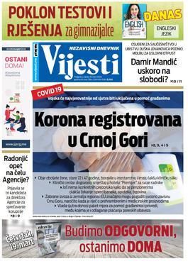 """Naslovna strana """"Vijesti"""" za srijedu 18. mart 2020. godine"""
