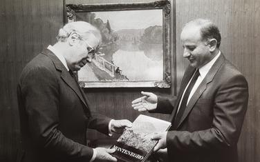 Peres de Kueljar i Slobodan Vuković u Njujorku 6. juna 1985.