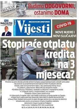 """Naslovna strana """"Vijesti"""" za četvrtak 19. mart 2019. godine"""