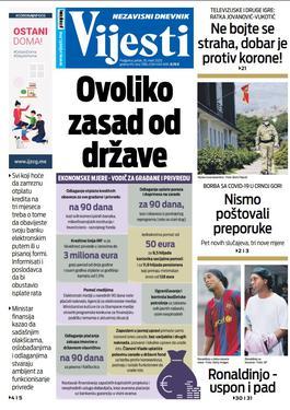 """Naslovna strana """"Vijesti"""" za 20. mart 2020. godine"""