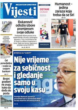 """Naslovna strana """"Vijesti"""" za 21. mart 2020. godine"""