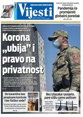"""Naslovna strana """"Vijesti"""" za 22. mart 2020. godine"""