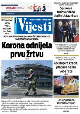 """Naslovna strana """"Vijesti"""" za 23. mart 2020. godine"""