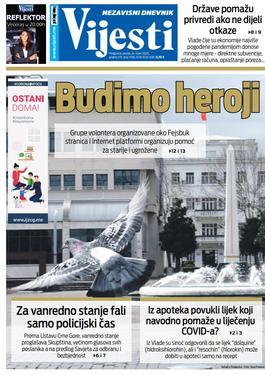 """Naslovna strana """"Vijesti"""" za utorak 24. mart 2020. godine"""