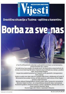 """Naslovna strana """"Vijesti"""" za 25. mart 2020. godine"""