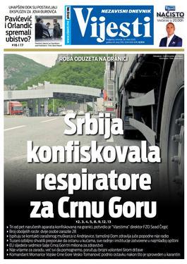 """Naslovna strana """"Vijesti"""" za 26. mart 2020. godine"""