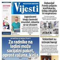 """Naslovna strana """"Vijesti"""" za 27. mart 2020. godine"""