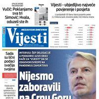 """Naslovna strana """"Vijesti"""" za 28. mart 2020. godine"""