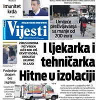 """Naslovna strana """"Vijesti"""" za 29.3.2020."""