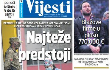 """Naslovna strana """"Vijesti"""" za ponedjeljak 30. mart 2020. godine"""