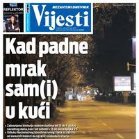 """Naslovna strana """"Vijesti"""" za utorak 31. mart 2020. godine"""