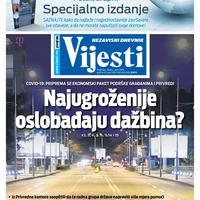 """Naslovna strana """"Vijesti"""" za 1. april 2020. godine"""