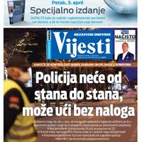 "Naslovna strana ""Vijesti"" za 2. april 2020."