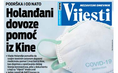 "Naslovna strana ""Vijesti"" za 3. april 2020."