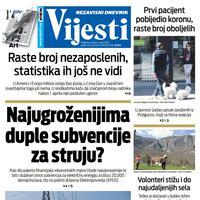 "Naslovna strana ""Vijesti"" za 4. april 2020."