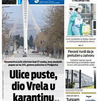 """Naslovna strana """"Vijesti"""" za nedjelju 5. april 2020. godine"""