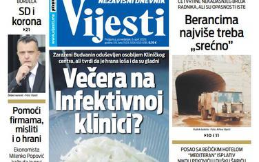 """Naslovna strana """"Vijesti"""" za ponedjeljak 6. april 2020. godine"""