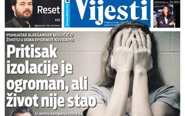 "Naslovna strana ""Vijesti"" za 7. april 2020."